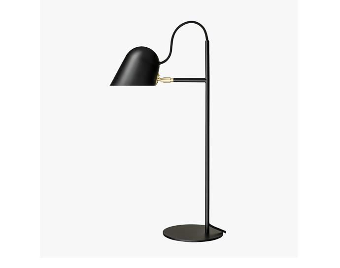 "Streck table in light black, $995, at [Great Dane](https://greatdanefurniture.com/danish-lighting/table/streck-table-light|target=""_blank""