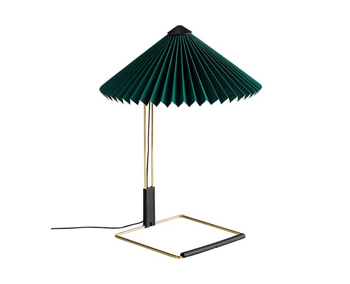 "Matin small table lamp, $390, at [Hay](https://hayshop.com.au/collections/lighting/products/matin-small-table-lamp|target=""_blank""