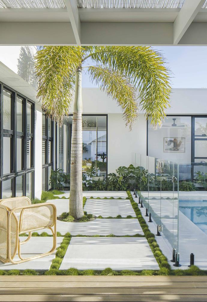 "The swimming pool in this [Palm Springs-style home in Casuarina](https://www.homestolove.com.au/palm-springs-inspired-home-19646|target=""_blank"") was formed from concrete, perfect complementing the pared-back material palette in the rest of the house."