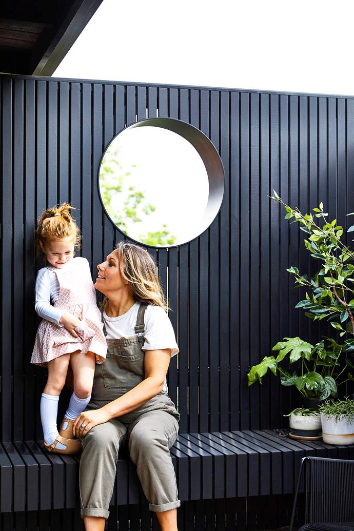 Simone Haag has created an outdoor oasis among the gumtrees, where her three little girls love to play.
