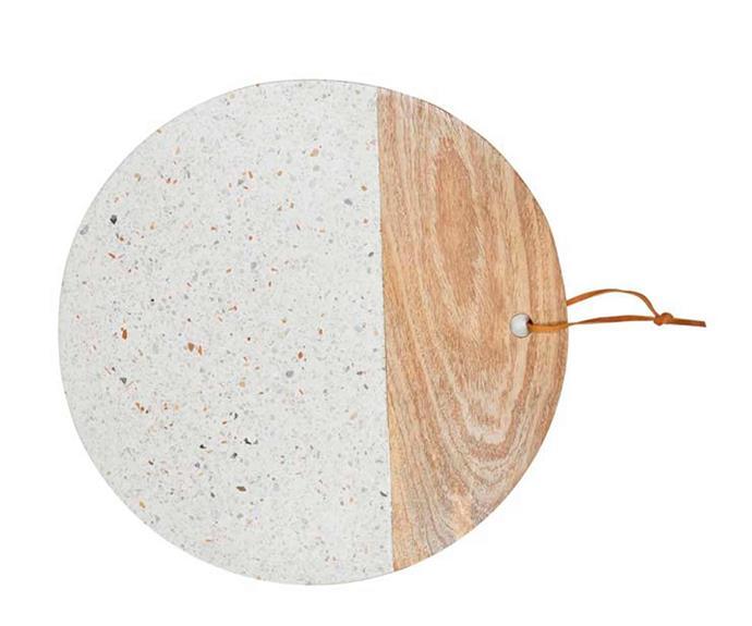 "Alfie terrazzo round cheeseboard, $60, [Globewest](https://www.globewest.com.au/|target=""_blank""|rel=""nofollow"")."