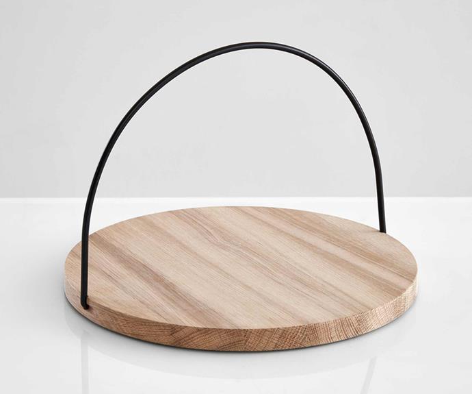 "Loop oak tray with black handle, $139, [RJ Living](https://www.rjliving.com.au/|target=""_blank""|rel=""nofollow"")"