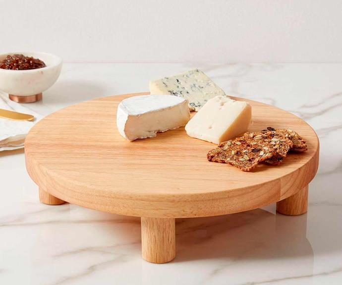 "Pedestal wood cheese stand, $69, [West Elm](http://www.westelm.com.au/|target=""_blank""|rel=""nofollow"")."