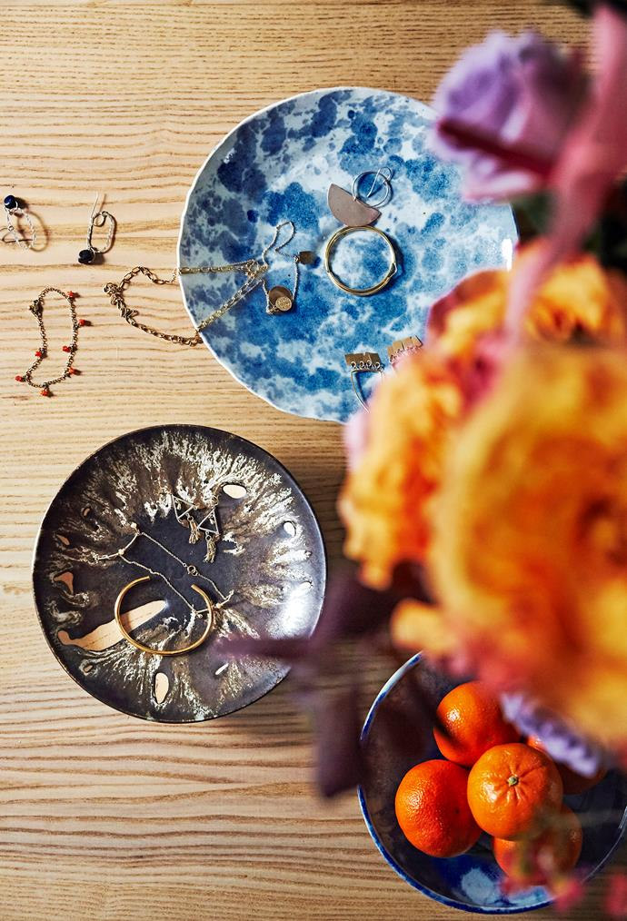 Style tip: When you're not wearing your favourite jewellery, put it on display in a glass, ceramic or resin dish.