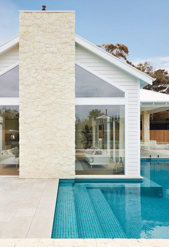 "**Exterior** The pool area wraps around the living space and vast limestone fireplace with Tuscan Rubble finish from Limestone Australia. Delray day bed, [Coastal Living](https://coastalliving.com.au/|target=""_blank""