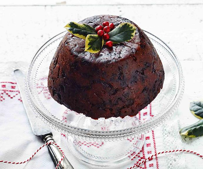Christmas Plum pudding on a glass cake stand