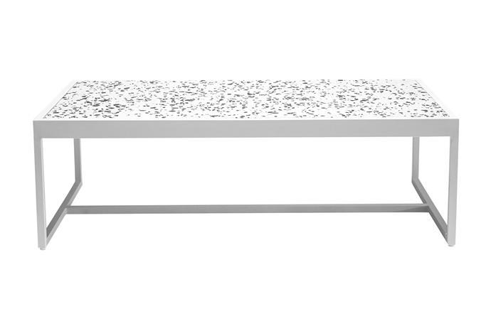 "Berlin terrazzo coffee table in White, $289, [Vorsen](https://www.vorsen.com.au/collections/outdoor-coffee-tables/products/berlin-terrazzo-coffee-table|target=""_blank""|rel=""nofollow"")."