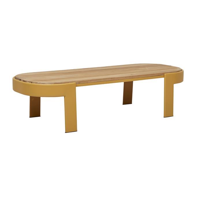 "Lagoon oval coffee table in Mustard, $1295, [GlobeWest](https://www.globewest.com.au/|target=""_blank""|rel=""nofollow"")."