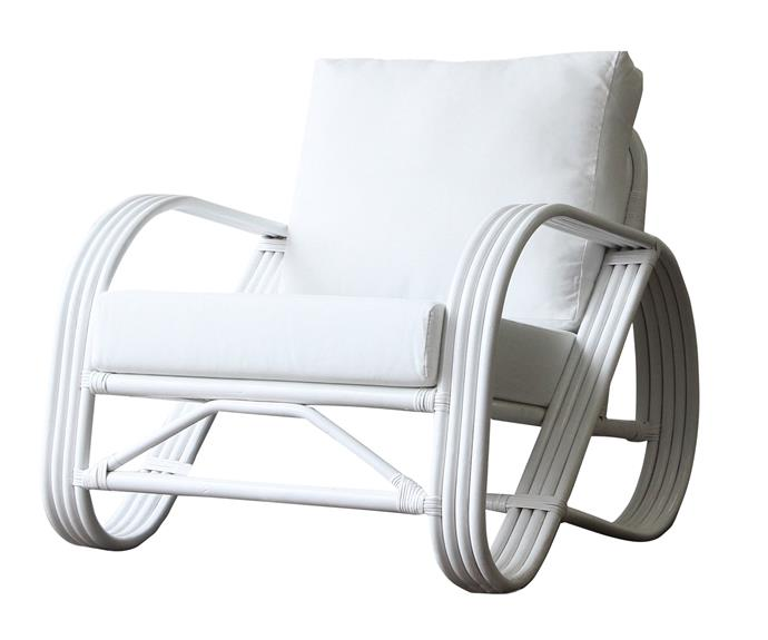 "Pretzel armchair in White, $1249, [Naturally Cane](https://www.naturallycane.com.au/shop/show-all-living-products/pretzel-armchair/|target=""_blank""