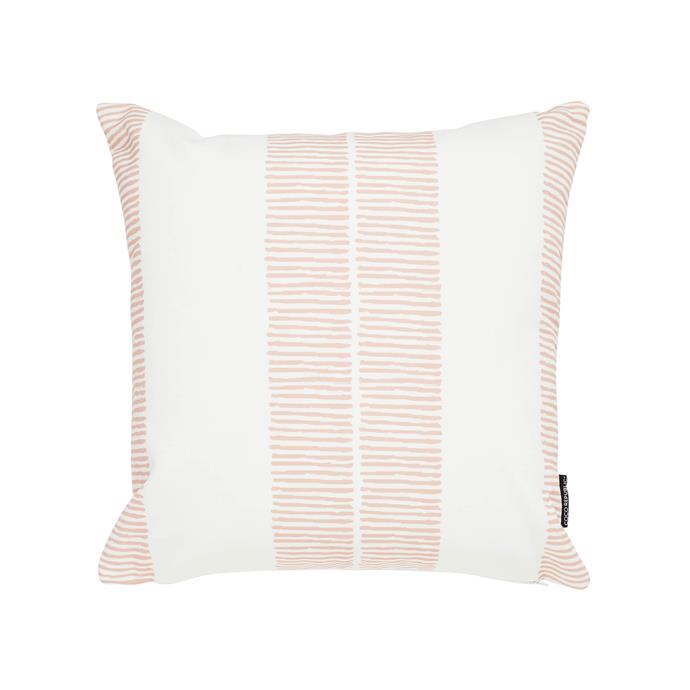 "Umbria outdoor scatter cushion in Nude/White, $135, [Coco Republic](https://www.cocorepublic.com.au/catalog/product/view/id/10484/s/umbria-outdoor-scatter-cushion-lines-10484/|target=""_blank""