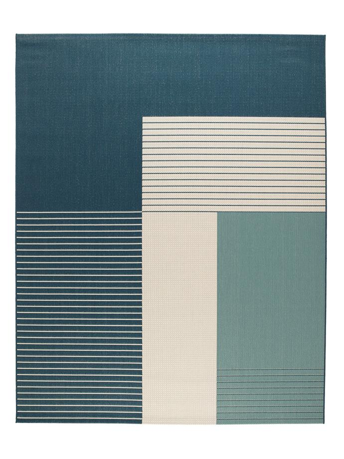 "Roskilde indoor/outdoor rug in Green-Blue, $149, [Ikea](https://www.ikea.com/au/en/catalog/products/40322107/|target=""_blank""|rel=""nofollow"")."