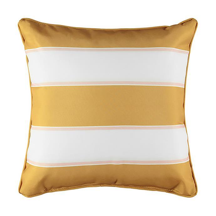 "Stripe outdoor cushion in Mustard, $8, [Kmart](https://www.kmart.com.au/product/stripe-outdoor-cushion---mustard/2658803|target=""_blank""|rel=""nofollow"")."