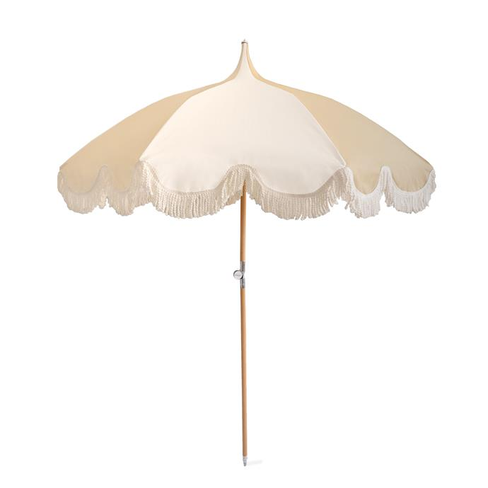 "Umbrella in Stone, $389, [The Beach People](https://thebeachpeople.com.au/collections/beach/products/umbrella-stone|target=""_blank""