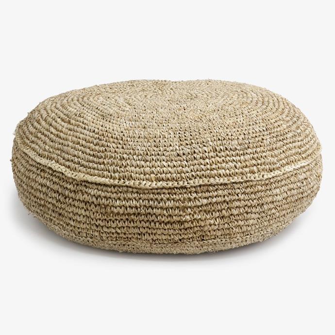 "Raffia Cushion Round, $129, [Alfresco Emporium](https://alfrescoemporium.com.au/products/raffia-cushion-round|target=""_blank""|rel=""nofollow"")."
