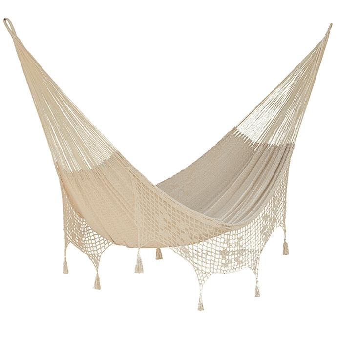 "Cotton Hammock with Fringe in Cream, $179, [Temple & Webster](https://www.templeandwebster.com.au/Mayan-Legacy-Cotton-Hammock-with-Fringe-in-Cream-TD-King-Cream-MAYA1014.html|target=""_blank""