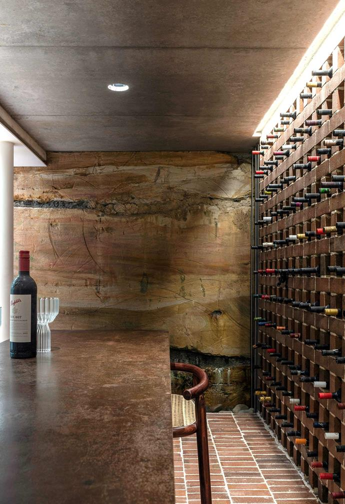 """**Wine cellar** The sandstone cavity keeps the [wine cellar](https://www.homestolove.com.au/wine-storage-ideas-19876