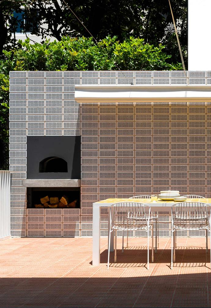 """**Courtyard** The unglazed terracotta breeze blocks in the [courtyard](https://www.homestolove.com.au/courtyard-garden-9942