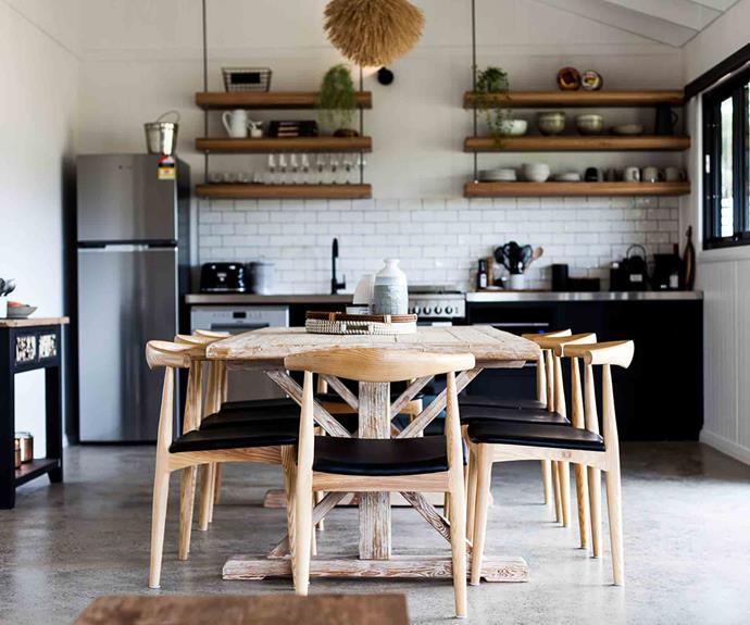 The open plan kitchen, living and dining room features polished concrete flooring. Each kitchen is fitted with a stainless steel bench, gas appliances and a coffee machine.
