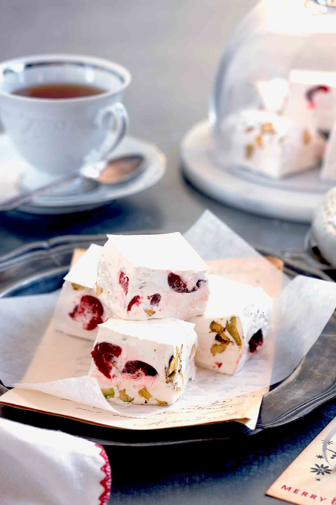 "**[Nougat squares with cherries and pistachios](https://www.homestolove.com.au/nougat-squares-8856|target=""_blank"")** Nougat is a popular [Christmas dessert](https://www.homestolove.com.au/australian-christmas-dessert-recipes-20808