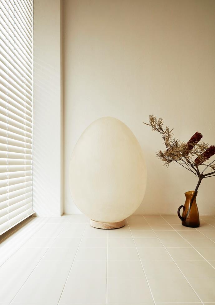 Olivia designed the fibreglass egg-shaped floor lamp as a prototype.