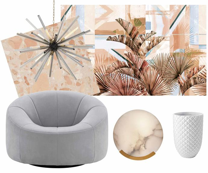 "**Modern revival** Channel Palm Springs vibes with these key pieces. **Get the look** (clockwise from left) Muse collection terrazzo in Pavlova, from $181 per sq m, [Fibonacci Stone](https://www.fibonaccistone.com.au/|target=""_blank""