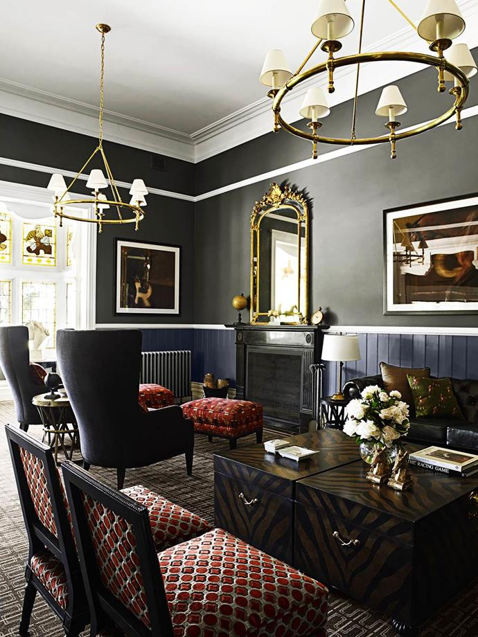 "The owners of Rosemont horse stud near Geelong commissioned interior designer Greg Natale to work his magic on this [1880s bluestone homestead](https://www.homestolove.com.au/horse-stud-homestead-country-elegance-2416|target=""_blank""). Drawing inspiration from the eclectic boutique hotels of New York's SoHo, Greg gave them the decorative layering they sought, with comfort and generous spaces for entertaining."