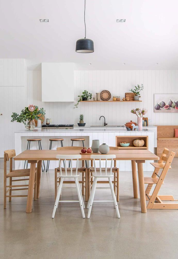 "**Rule 4: Dining chairs must match. **<br><br>If you are a bit of a [dining chair](https://www.homestolove.com.au/10-best-dining-chairs-12709|target=""_blank"") bowerbird, it can be hard to play favourites and stick to one style. All power to you! <br><br>Gather together a mis-matched collection for a truly unique interior that pulls together your favourite silhouettes and design eras."