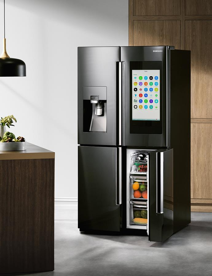 The Samsung 825L Family Hub French Door Fridge in Black Steel Finish isn't just smarter than your average fridge, it could be the smartest internet connected device in your entire house. *$7,499 at Harvey Norman*