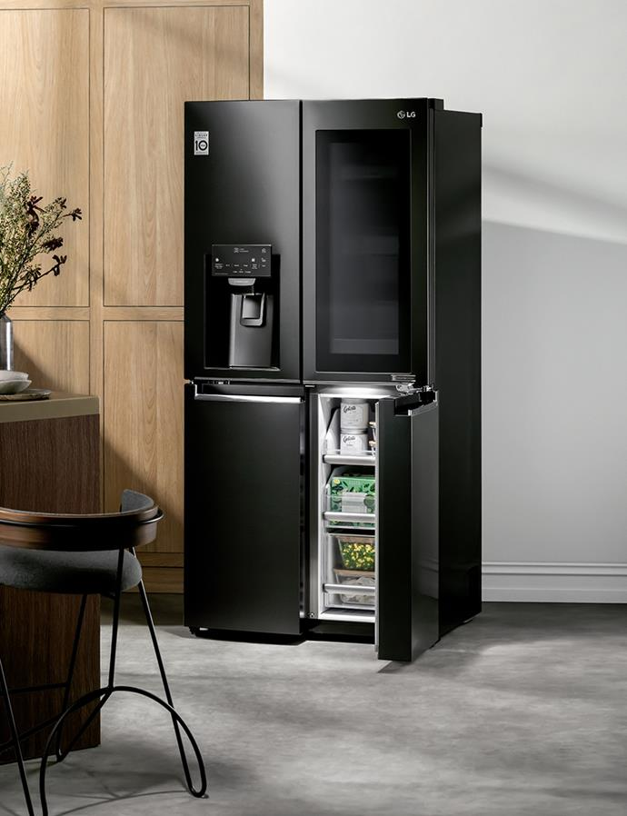 See your kitchen in an entirely new way with the clever, streamlined 570L Slim Counter Depth French Door Fridge with InstaView Door-in-Door, in a Premium Matte Black Finish. *$2,988 at Harvey Norman*