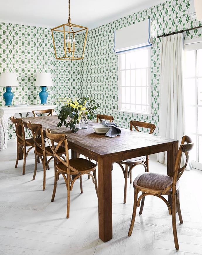 The much-loved staff/dining room. Darma reclaimed-teak table and Charlotte chairs, Schots Home Emporium. Lismore console, Coote&Co. Ginger jar lamps, Bragg & Co. Great Jones wallpaper in Moss, Diane Bergeron Design. Darlana medium lantern, The Montauk Lighting Co.