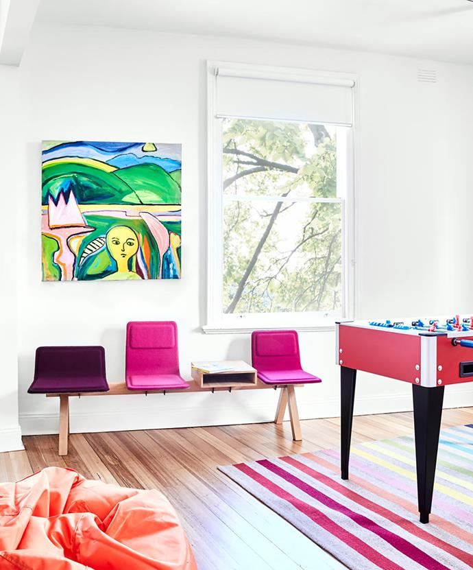 The games room is a room for colour and fun. Alki Laia bench, Cosh Living. Artwork by Sarah Wallace.