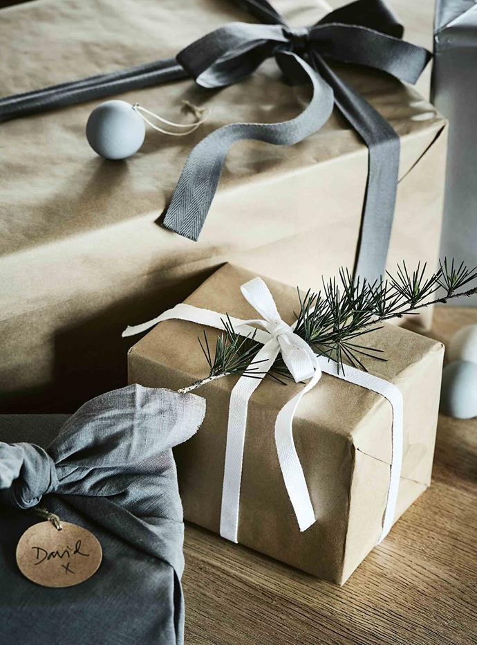 """I wrap presents in brown paper with ribbon and natural foliage,"" says Tracie"