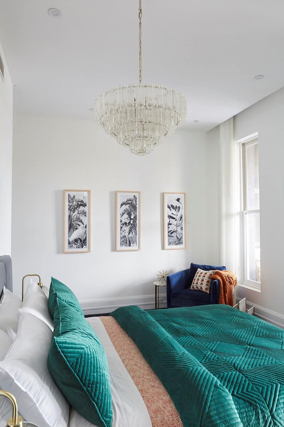 """**Week 1, Guest Bedroom** Mitch and Mark aimed high in [week one's guest bedroom reveal](https://www.homestolove.com.au/the-block-2019-guest-bedroom-reveal-20531