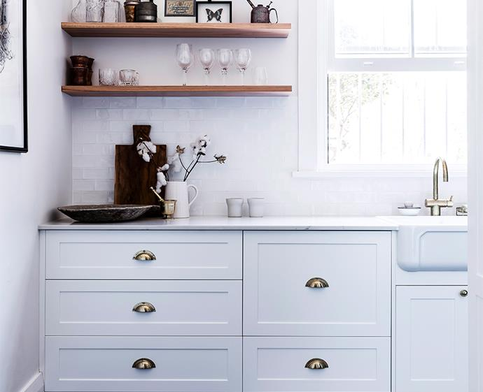 Inject some personality into your kitchen with some vintage hardware - and don't underestimate the power of a fresh coat of paint. *Image: Maree Homer / bauersyndication.com.au*