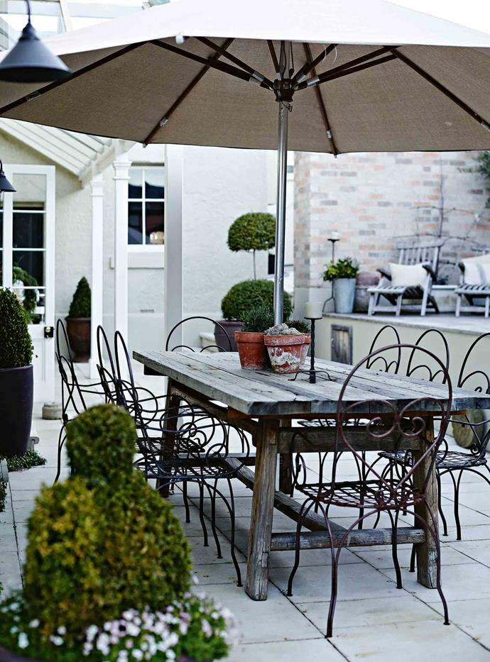 A large umbrella shades a renovated table and chairs alongside potted topiary plants.