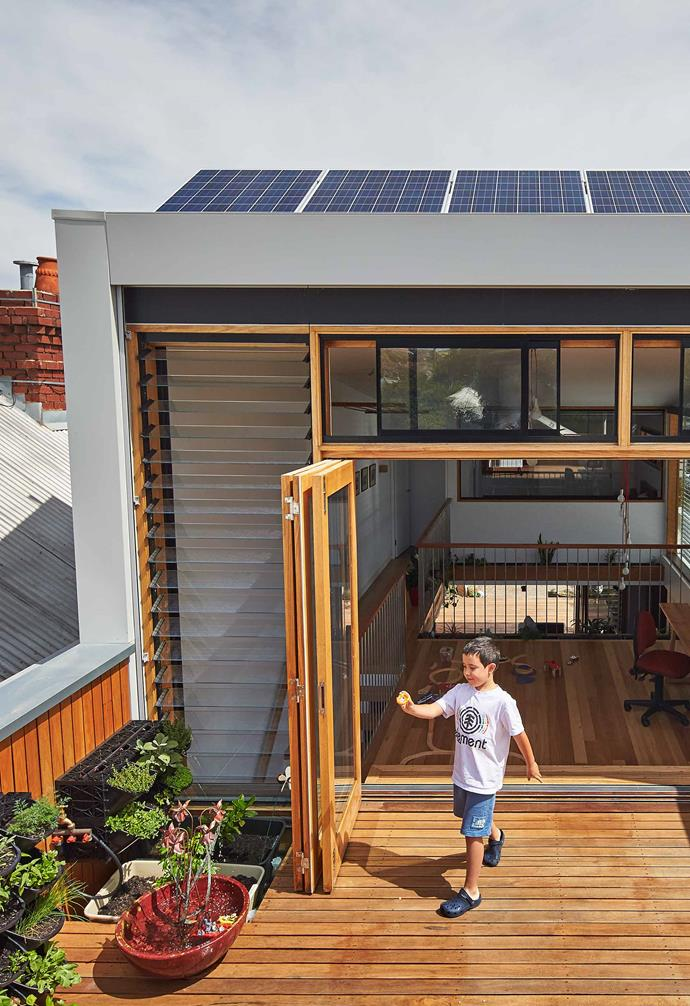 """Architect [Ben Callery](https://www.bencallery.com.au/ target=""""_blank"""" rel=""""nofollow"""") ensured solar panels were part of a suite of sustainable living inclusions that were added to the extension he designed for the Beyond House, a renovated Melbourne worker's cottage."""