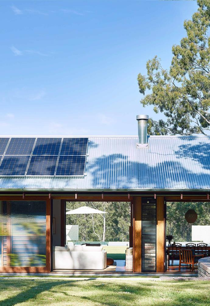 This Perth home embraces indoor-outdoor living and features ample solar panels on the roof.