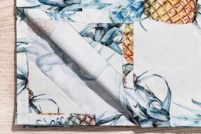 "Tablecloth - Ananas for Surflodge, $179, [Basil Bangs](https://basilbangs.com/au/ target=""_blank"" rel=""nofollow"")."