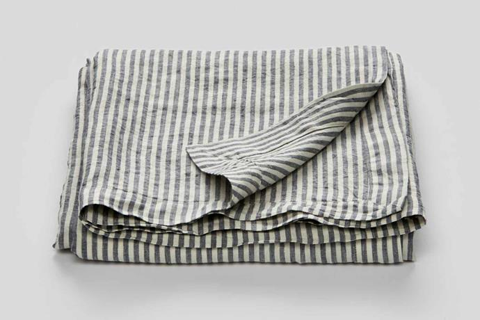 "100% Linen table cloth in blue and white stripe, from $110, [In Bed Store](https://inbedstore.com/|target=""_blank""
