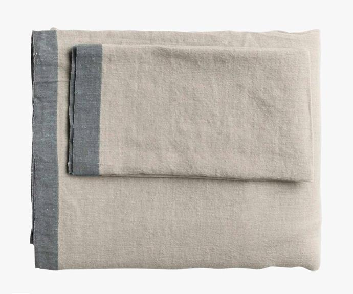 "Montalto graphite table cloth, $121, [L&M Home](https://www.lmhome.com.au/|target=""_blank""