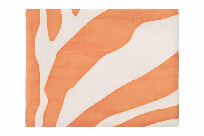 "Summerill & Bishop zebra-print linen tablecloth (2.5m x 1.65m), $379, [Matchesfashion](https://www.matchesfashion.com/au/|target=""_blank""|rel=""nofollow"")."