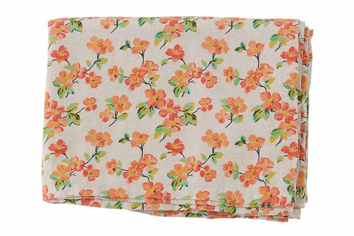 "Elma floral linen tablecloth, $169, [Society of Wanderers](https://societyofwanderers.com/|target=""_blank""