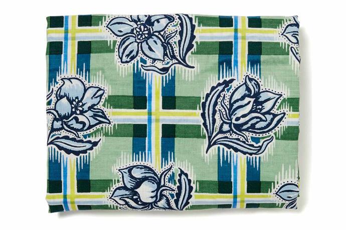"Madras garden tablecloth, $179 for 6-seater, [Utopia Goods](https://utopiagoods.com/ target=""_blank"" rel=""nofollow"")."