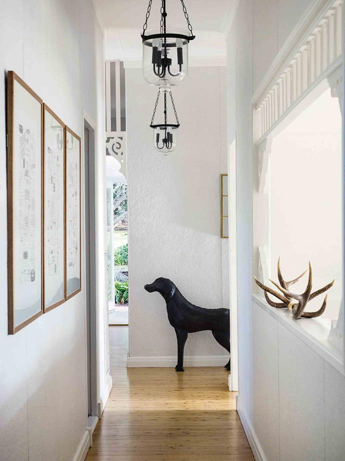 "Alischa bought the vintage pendant light overseas on her travels and fell in love with the dog statue from [Early Settler](https://www.earlysettler.com.au/|target=""_blank""