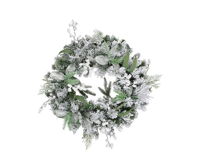 "Australian House & Garden eucalyptus snow and white berries wreath, $99.99, from [Myer](https://www.myer.com.au/p/australian-house-garden-eucalyptus-snow-and-white-berries-wreath|target=""_blank""