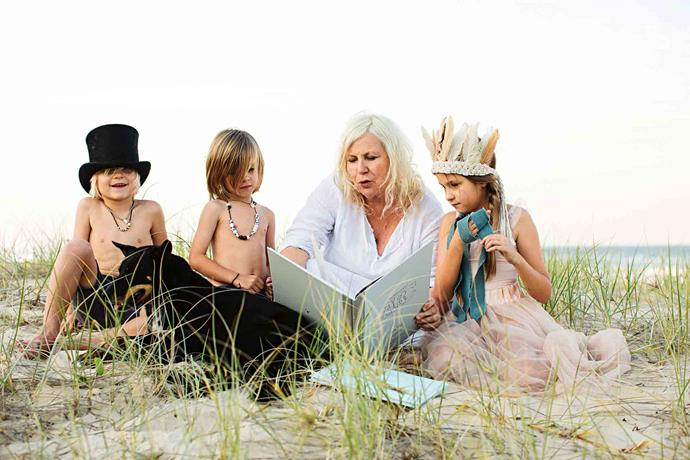 Vicki reads on the beach, in the company of Sebastian and Malakai, Ava, and Tippy the kelpie. The siblings and their family are friends of Vicki's, while her three grandchildren often visit and stay in her little guest bedrooms.