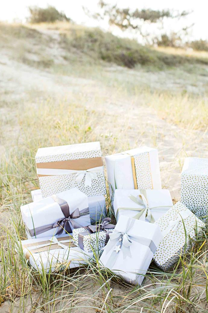 Presents await on the beach for Vicki's family, while other children across the globe receive theirs from the Unclebearskin studio. Meticulously wrapped and sealed with colourful wax, they're always sent with love.