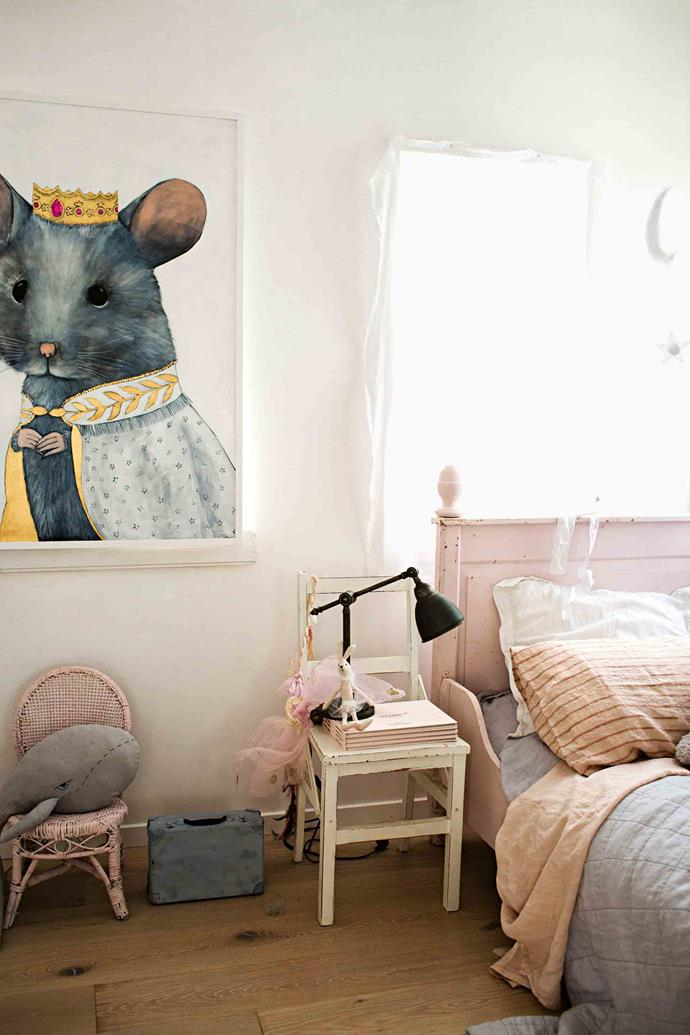 "Artist Cat Lee's Majestic Mia Mouse hangs in one of the [children's rooms](https://www.homestolove.com.au/kids-room-ideas-13261|target=""_blank""). ""I think it's important for children to live in and enjoy a space, but also to learn an appreciation for the things around them,"" says Vicki. ""They can be messy but they still treat everything with care."""