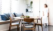Natural finishes and decor give this modern home a down-to-earth vibe