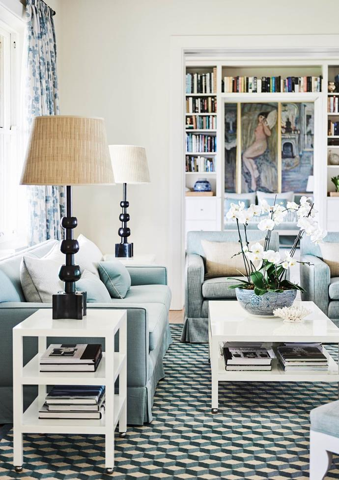 """Blue and green is often seen, adding freshness to this [Hamptons-style home](https://www.homestolove.com.au/clifftop-beach-house-hamptons-style-19414
